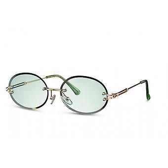 Sunglasses Unisex oval rimless cat. 2 gold/green