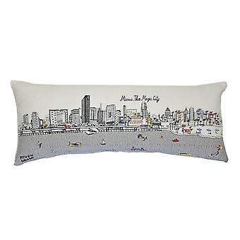 Spura Home Miami Novelty Print Skyline Contemporary Wool Day/Night Cushion