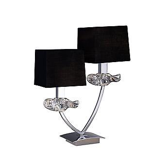 Lâmpada de mesa 2 Luz E14, Cromo Polido com Tons Pretos