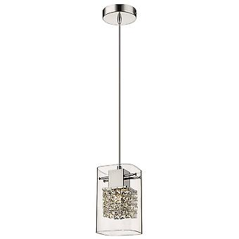 Éclairage de ressort - 1 plafond léger Pendentif Chrome Glass Single, G9