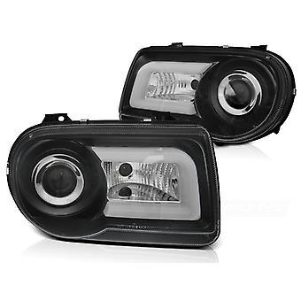 Koplampen met parkeerlicht CHRYSLER 300C 05-10 ZWART TUBE LIGHT