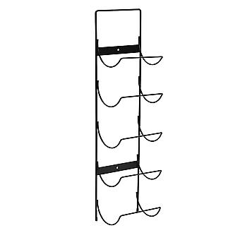 5 Bottle Wall Mounted Black Metal Wine Rack