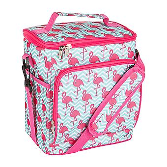 Nicola Spring Insulated Cooler Bag - Soft Sided Lunch Picnic BBQ Cool Bag with Shoulder Strap - Flamingo