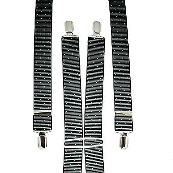 Ties Planet Grey & Black Ribbed With White Polka Dot Men's Trouser Braces