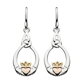 Heritage Sterling Silver Claddagh Trinity Knot Rose Gold Gold Plate Drop Earrings 6208GRG026