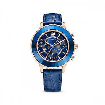 Swarovski Octea Lux Chrono Leather Strap Blue Rose Gold-tone Watch 5563480