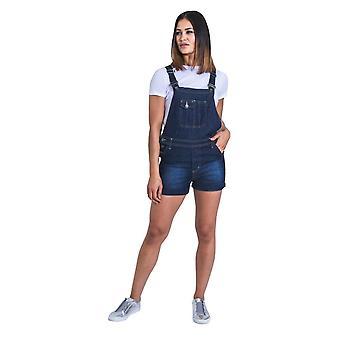 Imogen womens dungaree shorts - darkwash