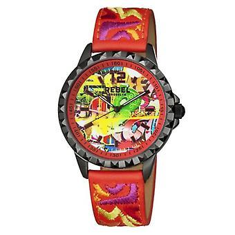 Rebel Women-apos;s RB122-6051 Dumbo Graffiti Dial Imprimé Montre-bracelet en cuir rouge