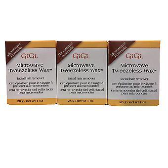 GiGi Microwave Tweezless Wax Facial Hair Remover 1 OZ Pack of 3