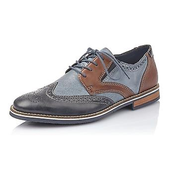 Rieker 13520-16 Otto 2 Mens Smart-casual Leather Shoe In Navy Mix