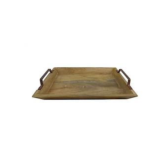 Wooden Tray with Copper