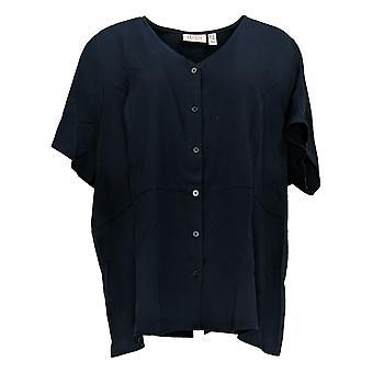 Denim & Co. Kvinder's Top Plus Button-Up kortærmet flare blå A388903