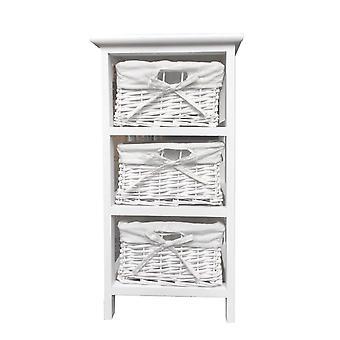 White Narrow Slim Kids Bedside Cabinet (29x31x56cm)