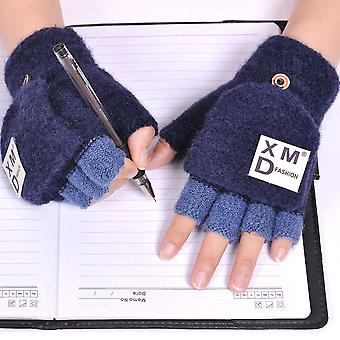 9-16 Years Old Winter Half Finger Flip Cover Warm Knitted Stretch Gloves