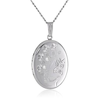 "Sterling Silver Engraved Flowers Oval Locket, 20"", silver, Size No Size"
