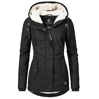 Invierno caliente a prueba de viento delgada moda elástica cintura cremallera bolsillo con capucha