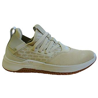 Supra Titanium Beige Leather Mesh Lace Up Mens Running Trainers 05673 232