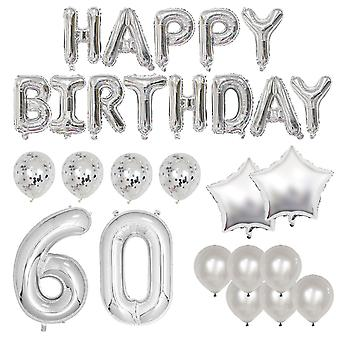 Happy 60th birthday balloon banner deluxe party pack - silver