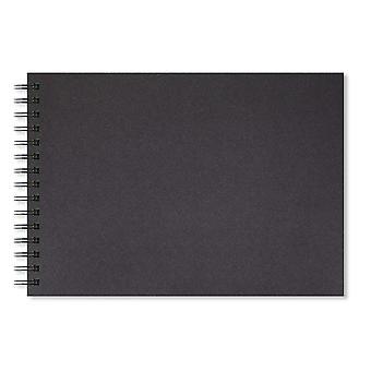 Artgecko schaduwrijke schetsboek (a4 landschap) - 80 pagina's (40 vellen) 200gsm zuur vrije zwarte kaart a4 land