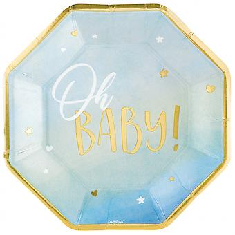Party Signs 'Oh Baby' Boys Cardboard Blue / Gold 8 Pieces