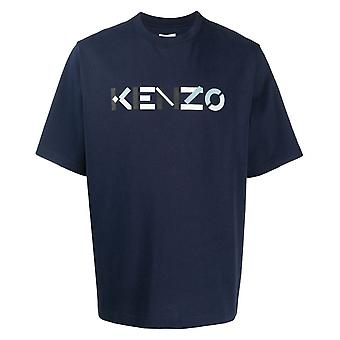 Kenzo Mens Multicolour Classic Logotipo Navy Oversized T-Shirt