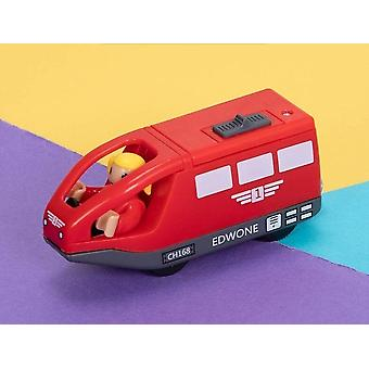 Tren eléctrico ranura magnética diecast ferrocarril con dos vagones juguete de madera