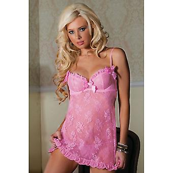 Underwire Cup Lace Babydoll And Thong