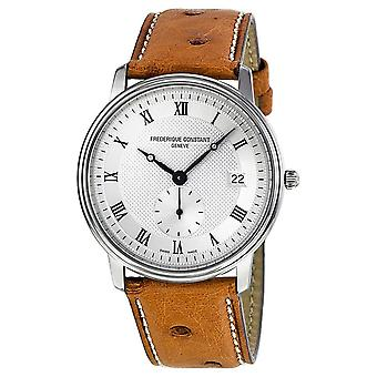 Frederique Constant Slim Line White Dial Brown Leather Strap Men's Watch FC-245M4S6OS