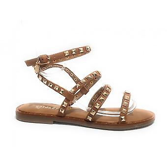 Women's Shoes Sandal Gold&gold Leather Color Faux Leather With Studs Ds21gg17