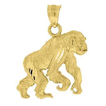 10k Oro Dc Unisex Gorilla Altezza 25.6mm X Larghezza 24mm Animal Charm Collana pendente Regali per le donne