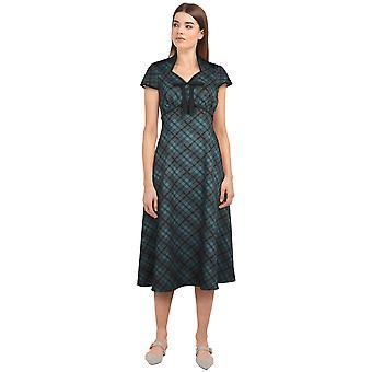 Chic Star Tie retro kjole i grøn / plaid