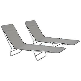 Folding Sun Loungers 2 Pcs Steel And Fabric Grey
