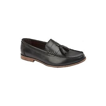 Lambretta Everett Mens Leather Loafer Shoes Black