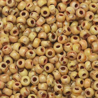 Miyuki Round Seed Beads, 8/0, Tubo de 22 Gram, #94512 Picasso Canary Yellow Matte