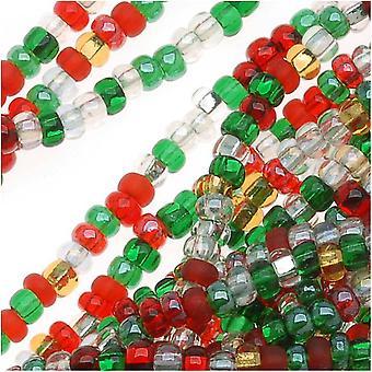 חרוזי זרעי זכוכית צ'כיים, סיבוב 11/0, 1 האנק, דק תערובת חג המולד של האולמות