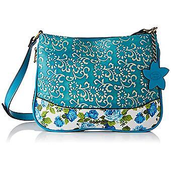 Laura Vita 4237, Crossbody Bag, Clutches, Flowers. Woman, Turquoise, Medium