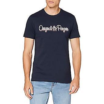 ORIGINAL PENGUIN Script 3D Logo Tee T-Shirt, Dark Sapphire 413, XXL Herr