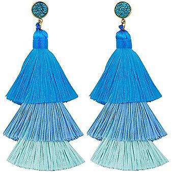 KYEYGWO - Kvinnors örhängen med tofs, boh mien stil, med tråd, med kristaller och droppträd och legering, färg: Ref örhängen. 0715444084331
