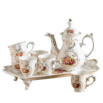Luxury style European water drinkware ceramic coffee tea set teapot cup sets bone china eco-friendly