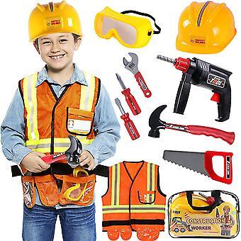 Bauarbeiter Kostüm Kinder Handwerker Kinderkostüm Rollenspiel Set mit SpielwerkzeugBrille