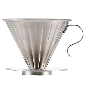 Ruostumaton teräs kahvi Dripper Kartio Kahvi Tippa Suodatin Kuppi Pysyvä Kaada kahvinkeittimen päälle erillisellä jalustalla 1-2 kupillista (hopeaa)