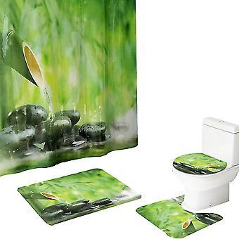 Green 2  four-piece bathroom fresh natural shower curtain non-slip mat combination homi4874