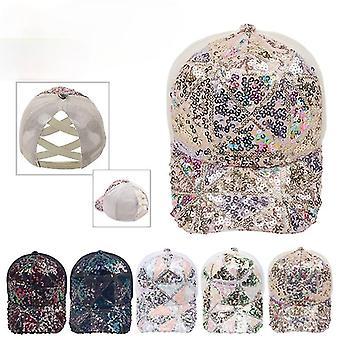 Ponytail Baseball Cap Fashion Women Hat Sequin design Tie Dye Criss Cross Hats Lady Girls Hip Hop