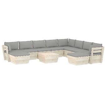 vidaXL 11-tlg. Jardin canapé-lit en palettes avec oreillers épicéa