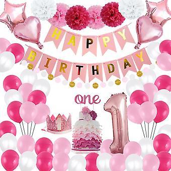 L0hill cumpleaños corona decoraciones, 58 Pcs globos decoración de fiesta para las mujeres de la niña con rosa feliz cumpleaños