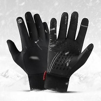 Bicycle bike gloves winter men women cycling gloves waterproof windproof fleece lining touchscreen anti-slip full-finger skiing gloves