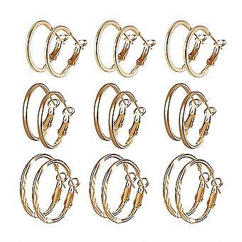 9 paar oorbellen set vergulde zilveren oorbellen voor verjaardagscadeau