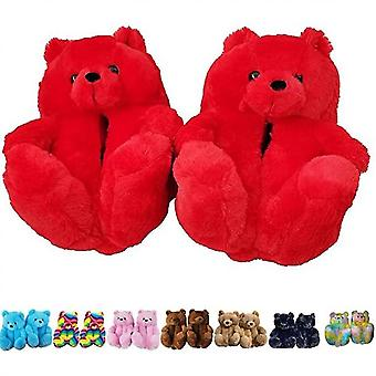 Teddy Bear Slippers, Home Indoor Soft Anti-slip Faux Fur Cute Slippers(Red)