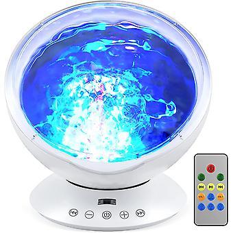 Ocean Wave Projector Nachtlampje 7 Modi Afstandsbediening Kids LED Ocean Projector Lamp Luidspreker Ingebouwde Muziekspeler Ocean Wave Verlichting met Aurora voor Slaapkamer Woonkamer Feest Kerstmis,(wit)