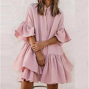 New chiffon loose solid color bell sleeve pleated skirt